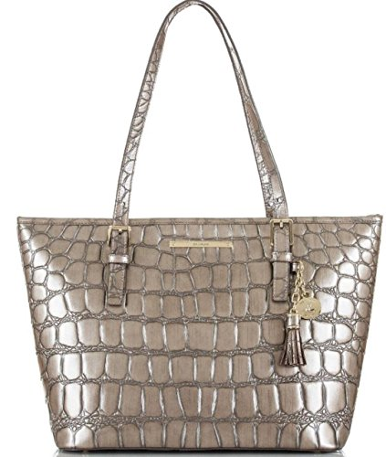 Brahmin Medium Asher Womens Genuine Leather Satchel Taupe