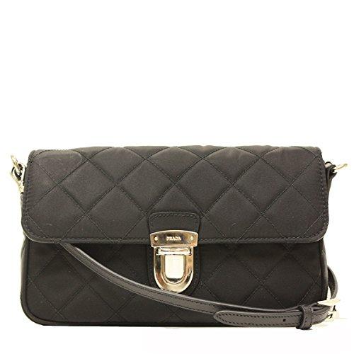 Prada Tessuto Impuntu Pattina Quilted Nylon Shoulder Bag BT1025, Black / Nero