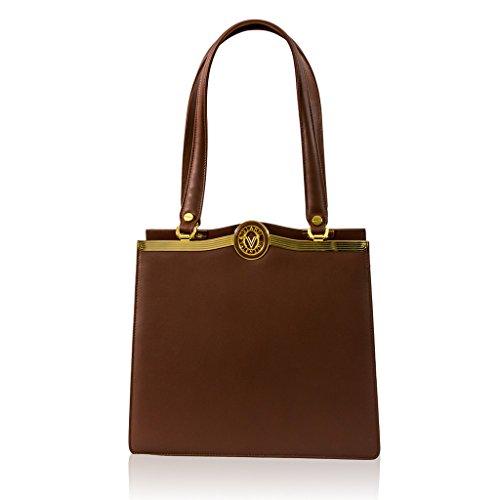Valentino Orlandi Italian Designer Cognac Vachetta Leather Satchel Purse Bag