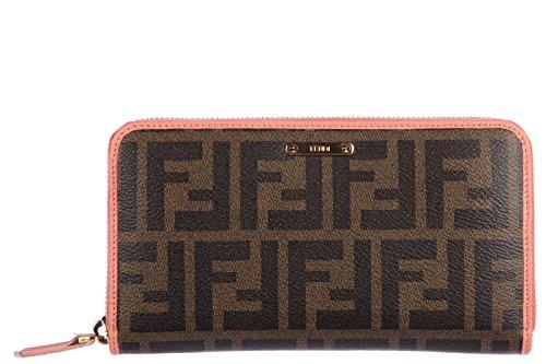 Fendi women's wallet coin case holder purse card bifold zucca elite zip around brown