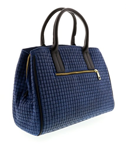HS2076 BLU SASA Blue Leather Satchel/Shoulder Bag