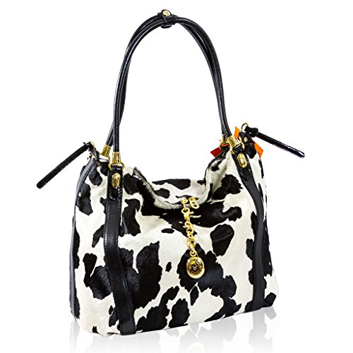 Marino Orlandi Designer White/Black Spotted Haircalf Leather Crossbody Bag