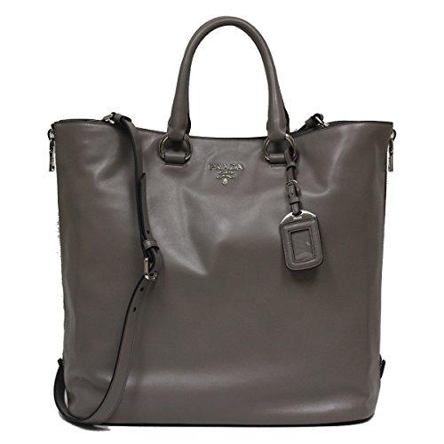 Prada Soft Calf Leather Shopping Tote Bag BN2477, Grey / Argilla