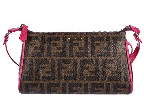 Fendi women's clutch handbag purse with shoulder strap original zucca mini pouch elite brown