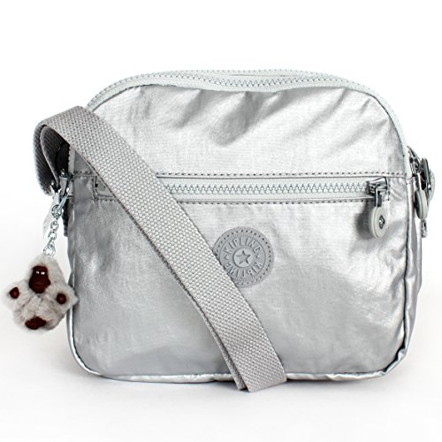 Kipling Keefe Shoulder Bag Crossbody Silver Metallic