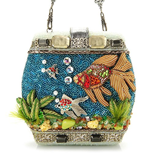 Mary Frances Fish Bowl Beaded Jeweled 3 Dimensional Hard Case Purse Clutch Shoulder Bag