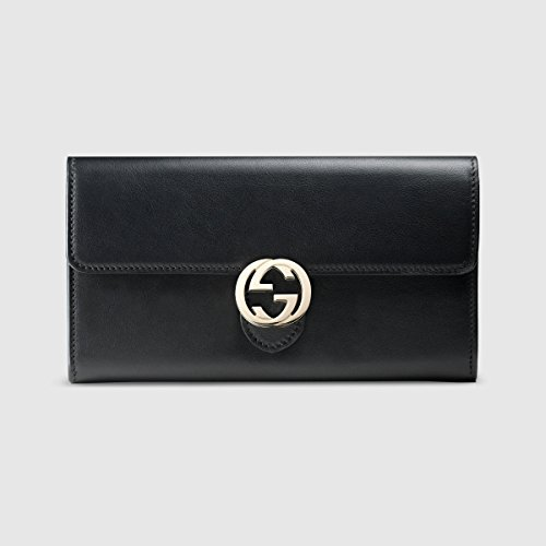Gucci Icon Polished Leather Continental Wallet Black Nero