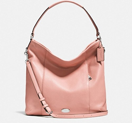 Coach Pebbled Leather Midnight Blue Hobo Shoulder Handbag Blush