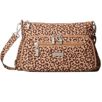 Baggallini Everyday Crinkle Shoulder Handbag Purse (Jungle/Sand)