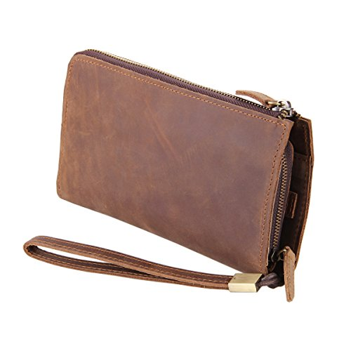 Kattee Vintage EU Style Top Leather Clutch Purse Zipper Wallet