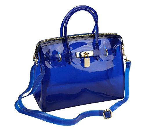BLUE NEW Women Designer Jelly Tote Handbag Purse Shoulder Bag Gold Lock Latch