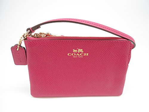 Coach Crossgrain Corner Zipper Wristlet Pink Ruby F53429