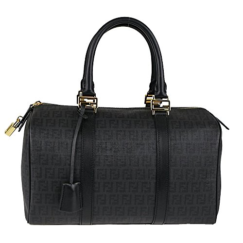 Fendi Zucchino Soft Calf Leather 'FF' Logo Duffle Bag Top Handle 8BL098, Black