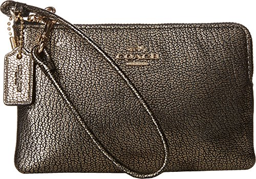 COACH Women's Box Program Smooth Corner Zip LI/Gold Clutch