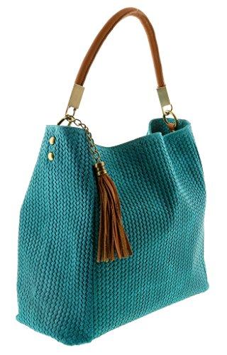 HS2070 TU GRAZIA Turquoise Leather Hobo Shoulder Bag