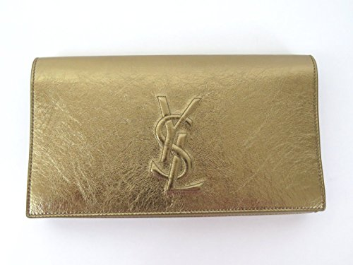 YSL Saint Laurent Monogram Cassandre Metallic Leather Clutch