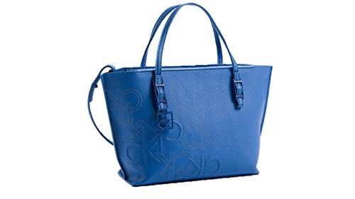 Calvin Klein Hailey Embossed Logo Studio Tote Small Bag Handbag Blue Wave