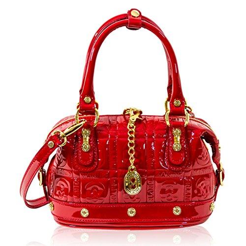 Marino Orlandi Italian Designer Red Patent Monogram Leather Purse Crossbody Bag