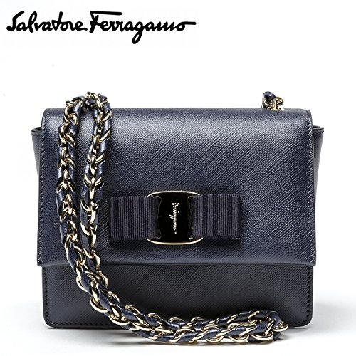 Wiberlux Ferragamo Women's Chain Strap Flap Real Leather Bag