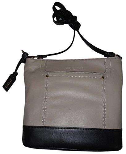 Tignanello Women's Large Genuine Leather Smooth Operator X-Body, Mushroom/Black