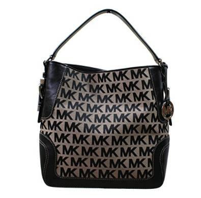 Michael Kors Brookville Large Shoulder Bag Beige & Black Signature Jacquard