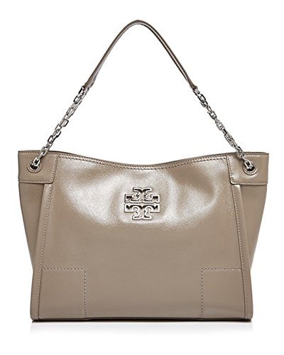 Britten Patent Chain-shoulder Slouchy Tote in French Gray