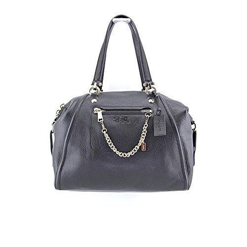 Coach Pebbled Leather Prairie Satchel Chain Handbag 34362 Black