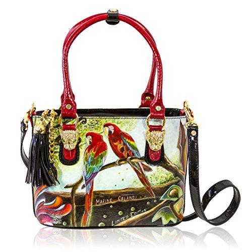Marino Orlandi Italian Designer PARROT Handpainted Lether Tote Crossbody Bag