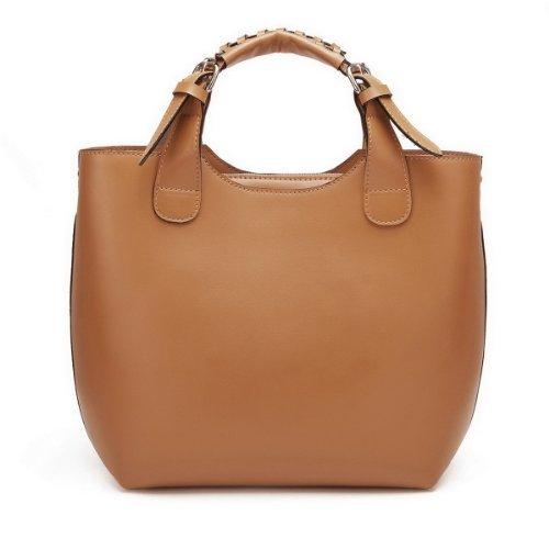Nucelle Genuine Leather Top Zippers Top Handle Satchel Office Tote Shopper Hobo Handbag Purse Shoulder Bag (Tan)