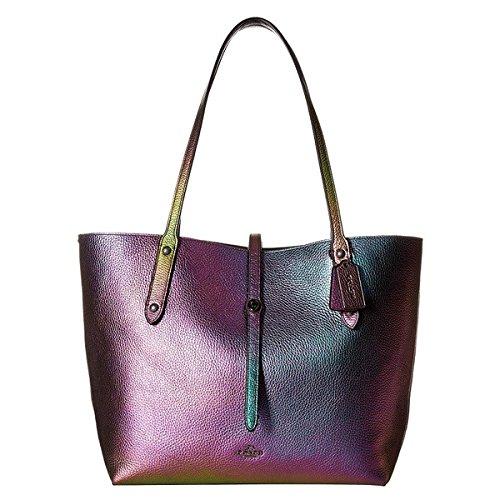 Coach Hologram Market Tote Multicolor Leather Handbag Bag
