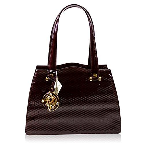 Valentino Orlandi Italian Designer Burgundy Textured Patent Leather Purse Bag