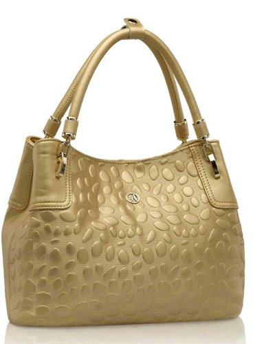 Ilishop Women's Gold Tote Genuine Leather Handbag