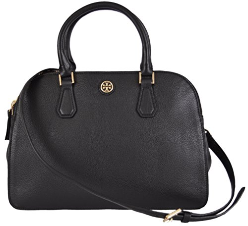 Tory Burch Women's Black Leather Robinson Double Zip Dome Satchel