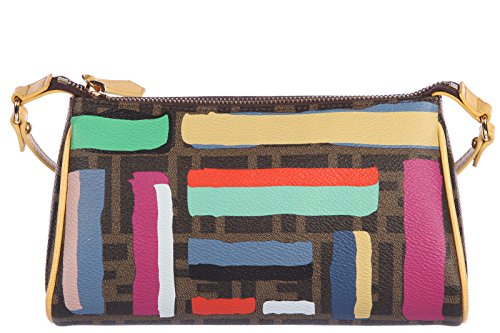 Fendi women's clutch handbag purse with shoulder strap original mini pouch zucca print gessetti calfskin elite brown