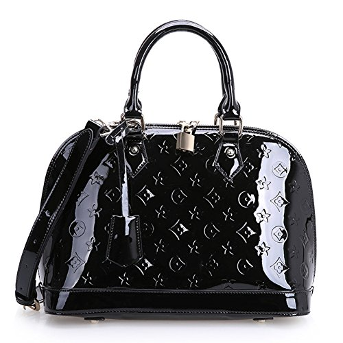 Ilishop Women's black Pinshang Women's Wood Grain Top Handle Bag