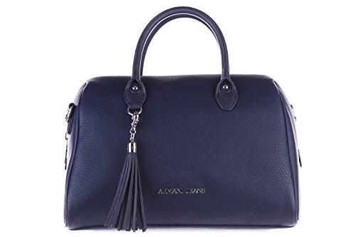 Armani Jeans women's handbag barrel bag purse nappina blu