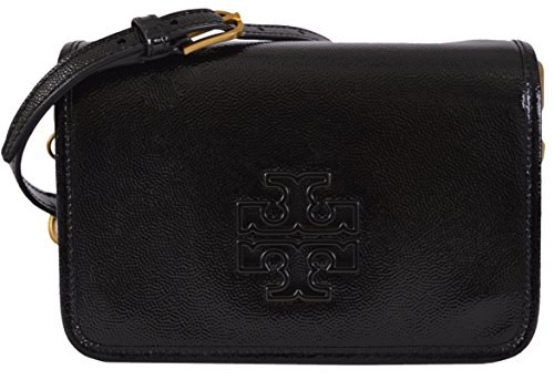 Tory Burch Black Patent Leather Mini Britten Crossbody Purse