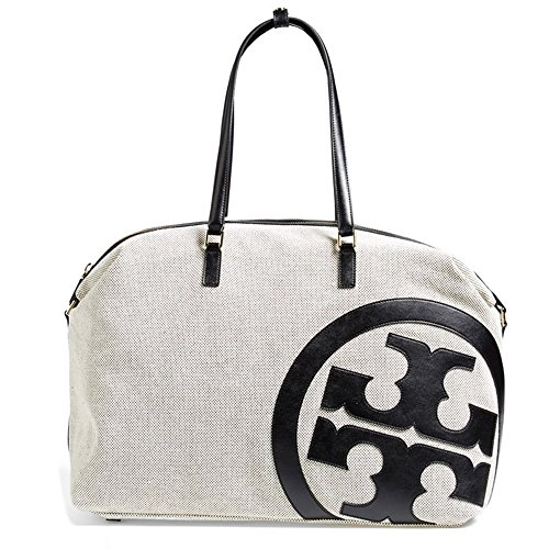 Tory Burch Lonnie Canvas Large Duffle Tote Black Beige