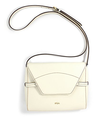 Lauren Ralph Lauren Sheldon Vanilla Leather Cross Body Flap Handbag Purse Bag