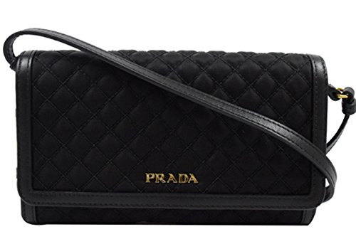 Prada Quilted Nylon & Soft Calf Leather Crossbody Shoulder Wallet Bag 1M1437, Nero Black