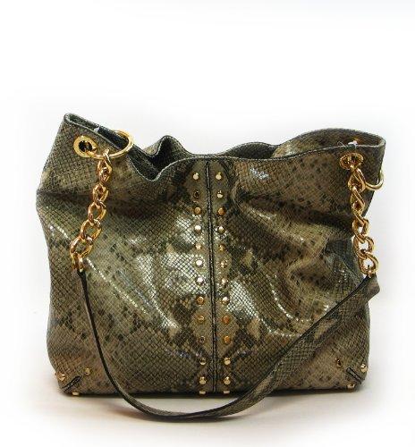 MICHAEL Michael Kors Uptown Astor Large Shoulder Tote Tote Handbags – Angora Embellished Python