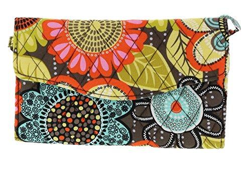 Vera Bradley Crossbody / Shoulder Strap Wallet Handbag / Clutch in Flower Shower