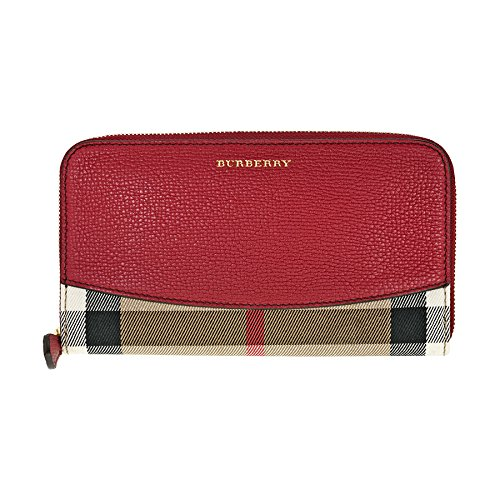 Burberry House Check Sartorial Leather Wallet – Military Red