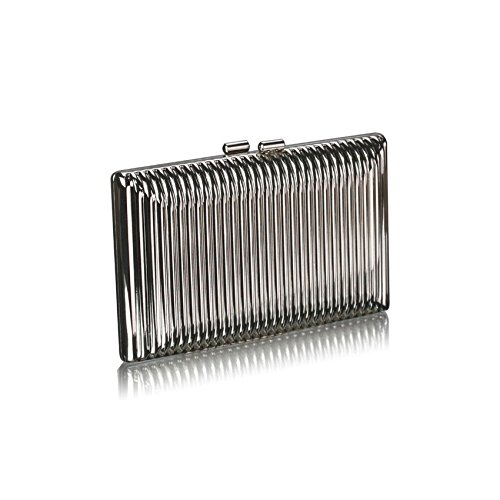 Ladies Silver Solid Metal Hard Case Clutch Bag Evening Handbag KCMODE