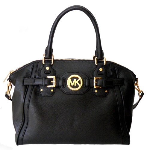 Michael Kors Hudson Black Leather Satchel