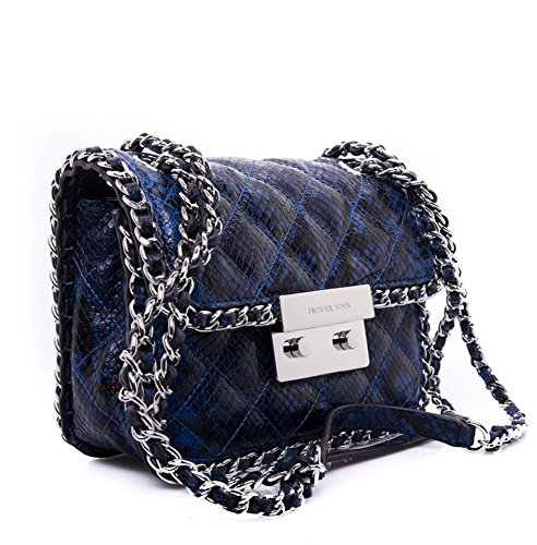 MICHAEL Michael Kors Womens Carine Medium Shoulder Bag (Electric Blue/Silver)
