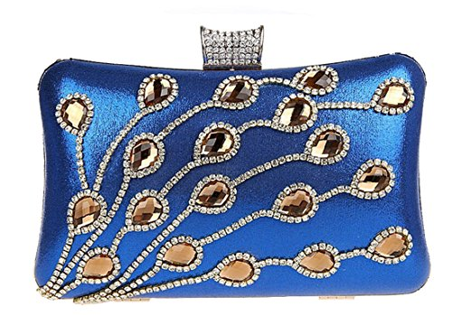 Women Evening Clutch,Iblue 7.8 Inch Elegant Hard Case Purse Bridal Handbag #03865