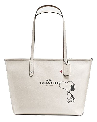 Coach X Peanuts Snoopy, City Zip Tote, Chalk (Off-White) Calf Leather, F37273