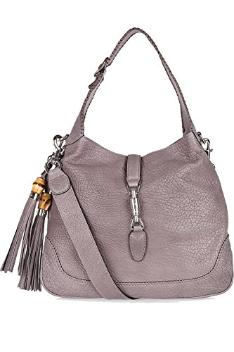 Gucci New Jackie Mauve Taupe Leather Shoulder Bag With Bamboo Tassel Large