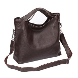 Ilishop Women's Saddle Brown Tote Handbag Genuine Leather Shoulder Bag